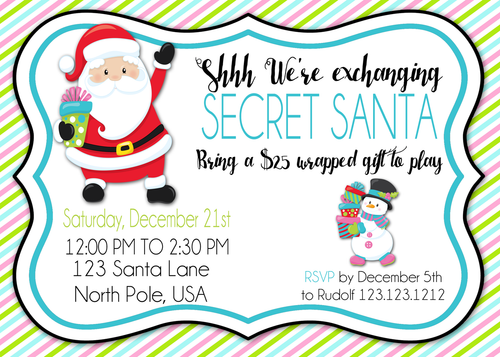 Gift Exchange Christmas Party Invitations