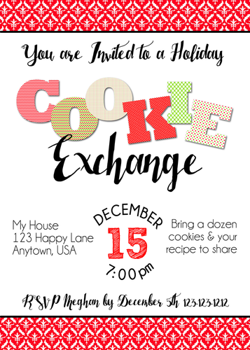 Cookie Exchange Christmas party Invitations