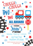 Chugga Chugga personalized birthday invitations, train invitation