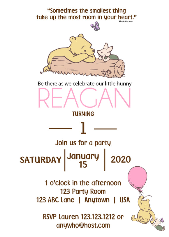 Classic Bear Pooh Party Invitation Girl - PG101 - Invitetique