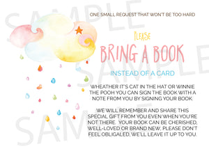 Colorful clouds raindrops Book request cards - Invitetique