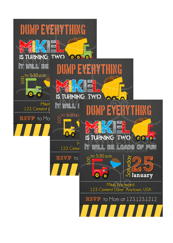 Construction Site Birthday Invitations - Invitetique