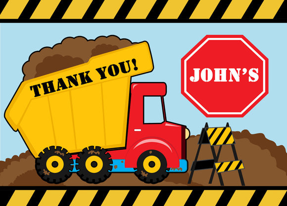 Dump Truck Fill In the blank Thank You Cards - Invitetique