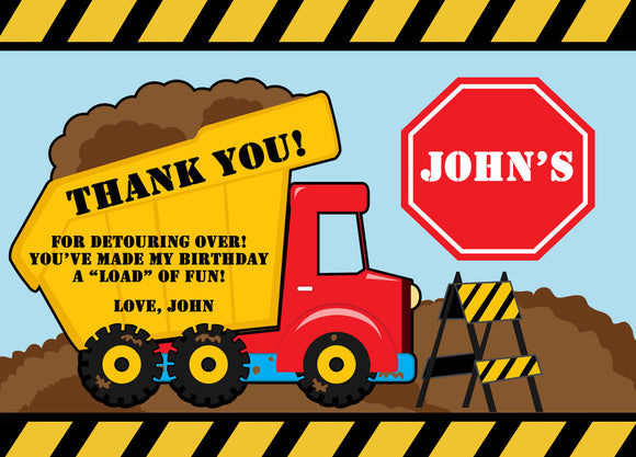 Boy Construction Thank You Card - Invitetique
