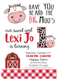little cow girl birthday invitation