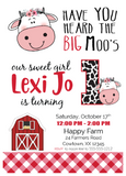 Lil' Cow birthday party invitation