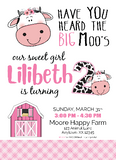 cow 1st birthday invitation