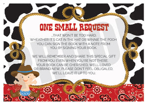 Cowboy western baby book request insert card