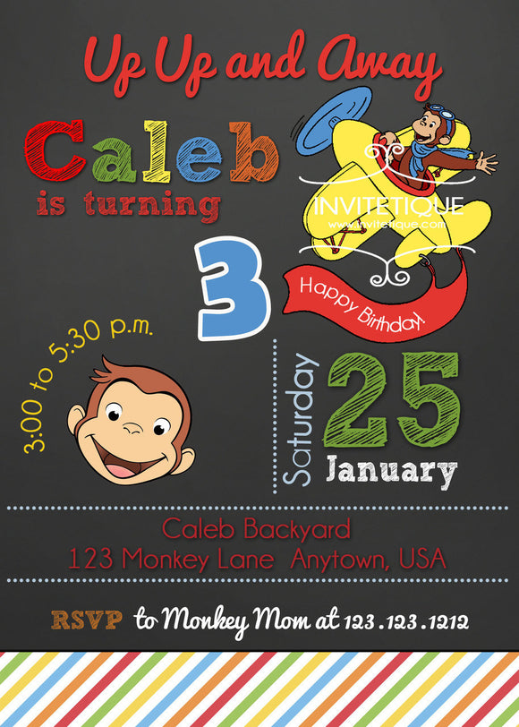 Flying Curious Monkey  Birthday Invitations - Invitetique