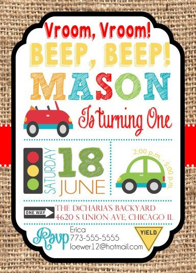 Cute Cars Transportation Boy Birthday Invitations - We print - Invitetique