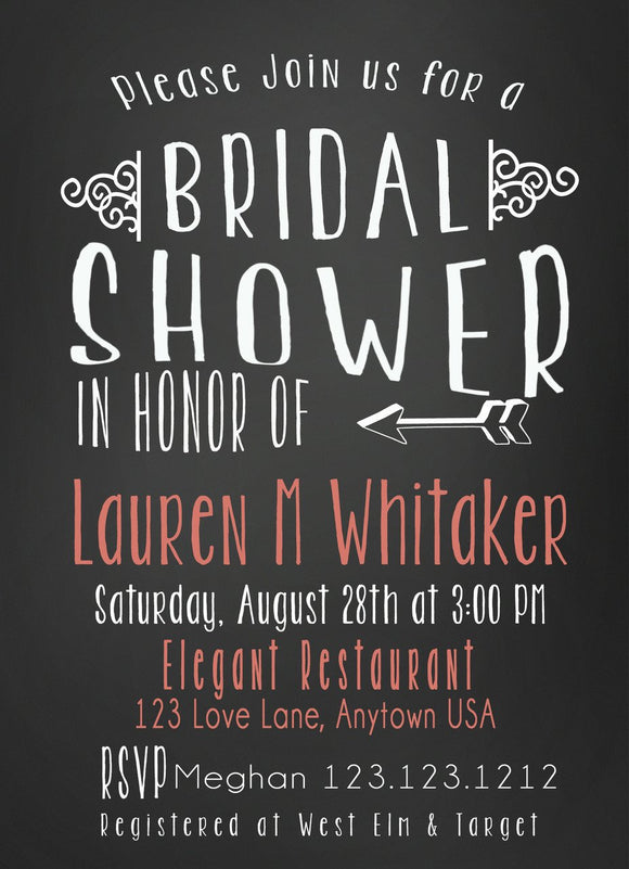 DELIGHTFUL BRIDAL SHOWER CHALKBOARD CORAL INVITATIONS