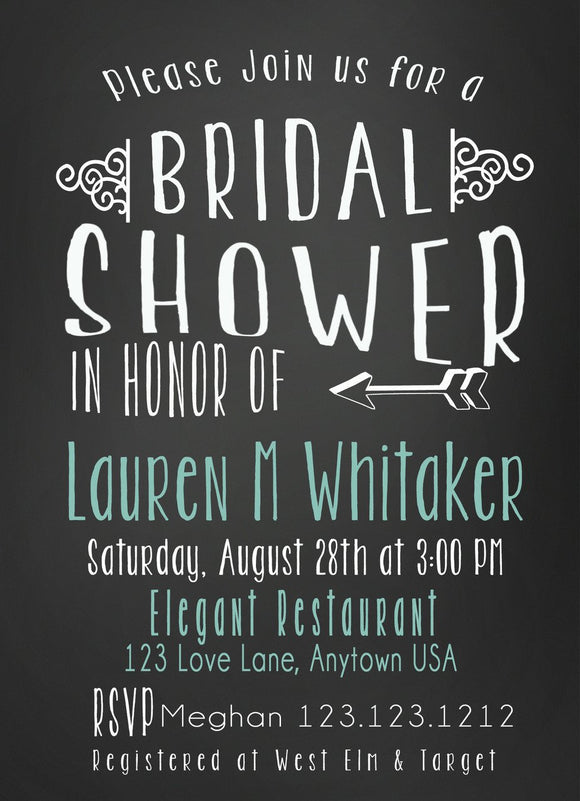 DELIGHTFUL BRIDAL SHOWER CHALKBOARD TEAL personalized INVITATIONS