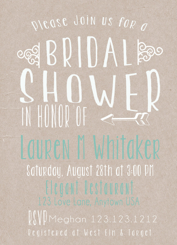 Kraft Teal Bridal Shower invitations - Invitetique