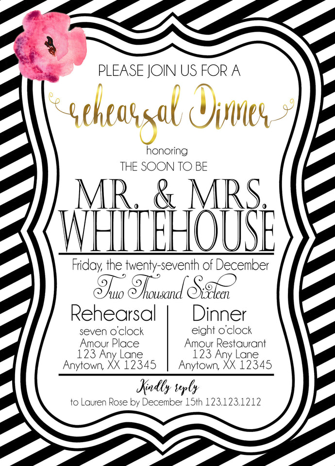 Kate Spade Inspired Rehearsal Dinner Stripes invitations