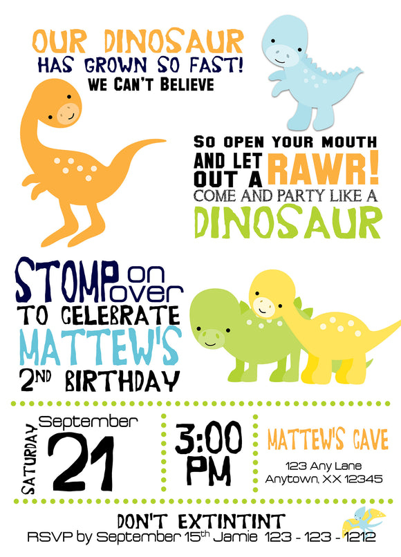 Dinosaurs Birthday Invitation - Invitetique