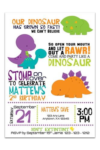 Dinosaur Invitations ideal for boy, girl or twin birthday invitations