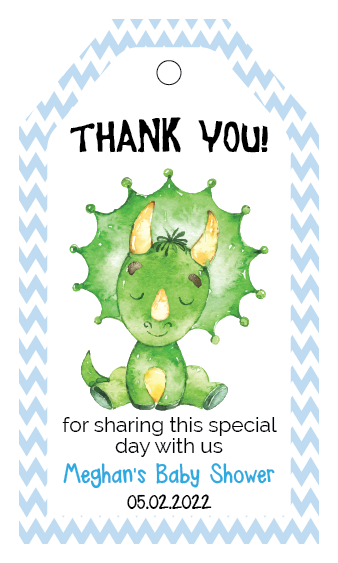Dinosaur Baby Shower Favor Tags - Soft Blue