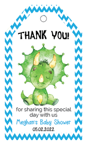 Dinosaur baby shower favor tags, gift tags, personalized, boy baby shower favors