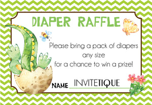 Dinosaur Diaper Raffle Tickets Green - Invitetique
