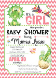 Baby Girl Dinosaurs Baby Shower Invitation - Invitetique