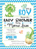 Baby Boy Dinosaurs Baby Shower Invitation - Invitetique