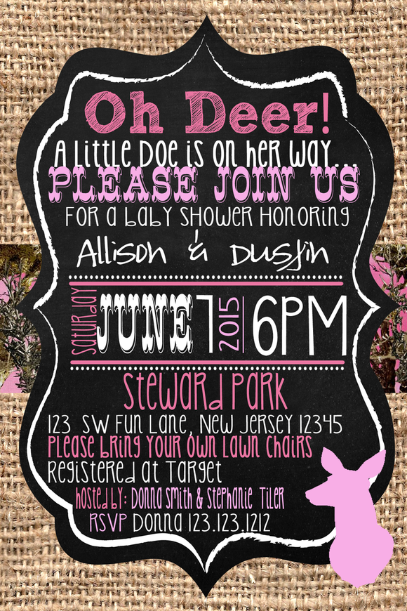 Doe Pink Camouflage Baby Shower Invitations - Digital - Invitetique