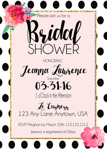 Kate Spade inspired Black & White Polka Dots Bridal Shower Invite