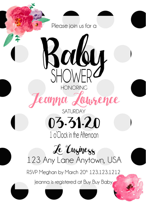 Black Polka dots Baby Shower Invitation - 390 - Invitetique