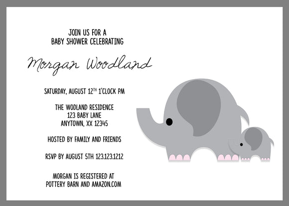 Little Elephant baby Shower Invitations - We print - Invitetique