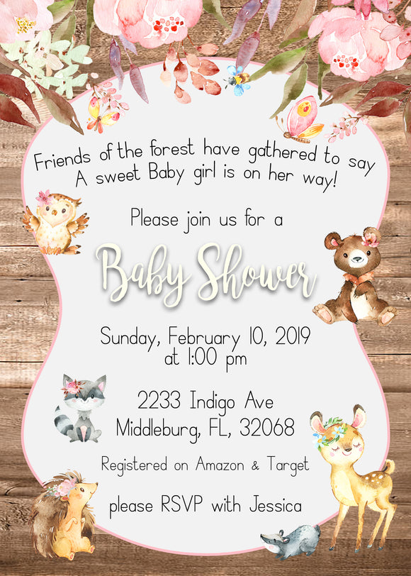 Woodland Forest Enchanted Baby Shower Invitations - BSE101 - Invitetique
