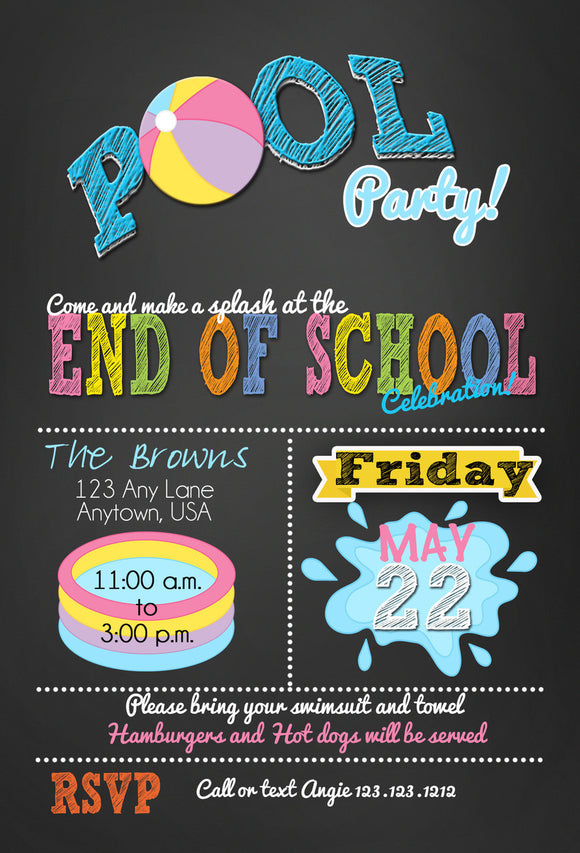 End of the School year Pool Party Bash Invitations - Invitetique