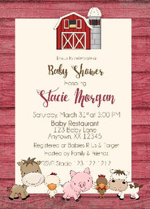 Farm Animals Baby Shower Invitations - Invitetique