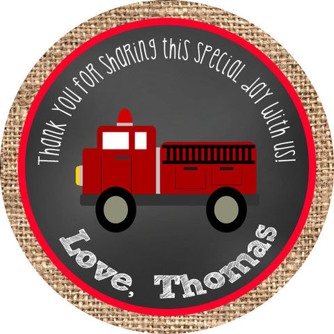 Firetruck Burlap Circle Favor Tags - Invitetique