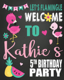 Flamingo chalk personalized welcome sign