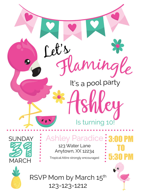 Flamingo Pool Party Invitations - Digital - Invitetique