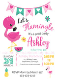 Flamingo Pool Party Invitations - Invitetique