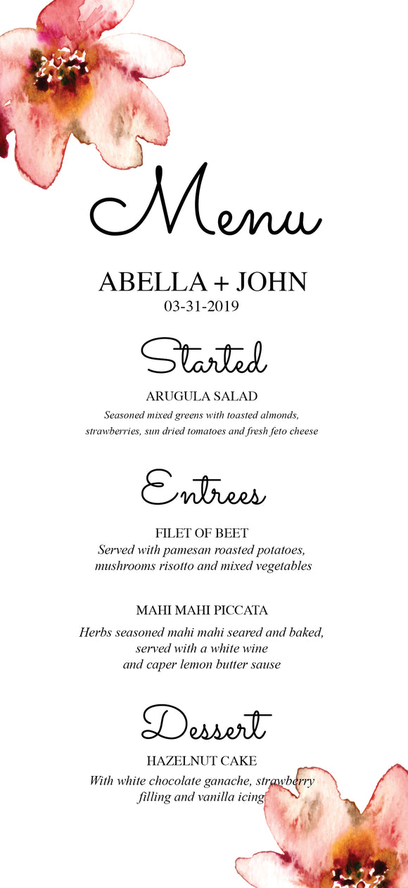 Ellis Flower Menu Card