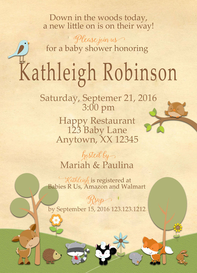 Forest Friends baby Shower Invites