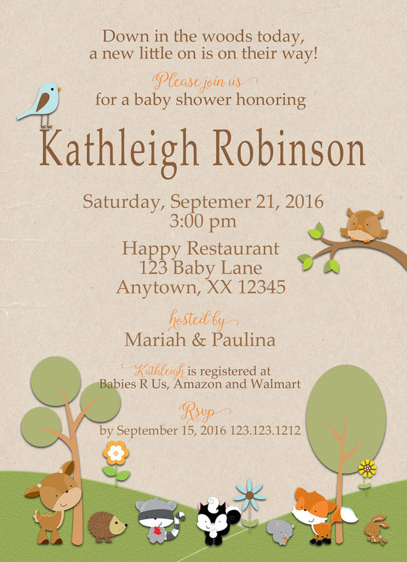 Forest Friends Kraft baby Shower Invitations - Invitetique