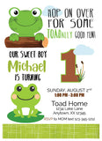 frog twin birthday invitation
