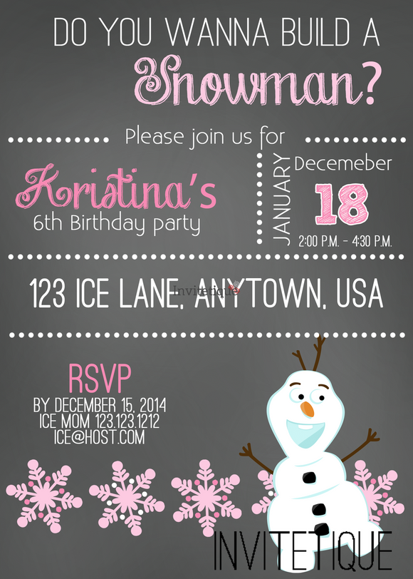Snow Princess Olaf Snowman Invites - Invitetique