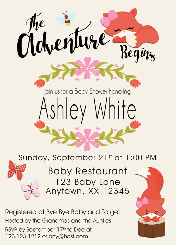 Fox Girl  Baby Shower Invitations - Invitetique