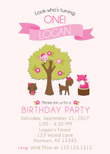 Girl Woodland Birthday Party Personalized Invitation