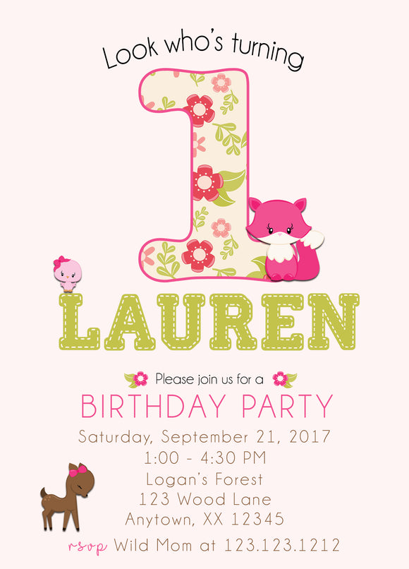 Girly Woodland Birthday Invitation - Invitetique