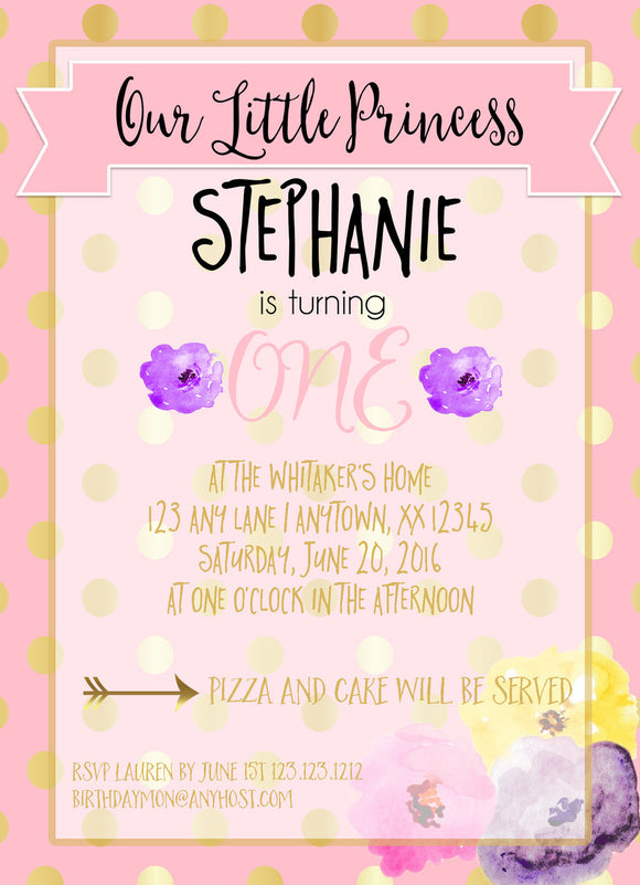 Pink and Gold Polka Dots Birthday Invite - Invitetique