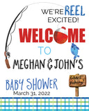 gone fishing baby shower sign, signage, personalized fishing sign