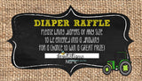 John Deere Diaper Raffle Tickets - Invitetique