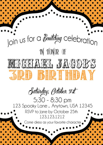 Polka Dots Halloween Invites - Invitetique