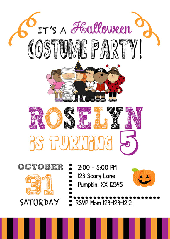 Kids Costume Halloween Invitations (we print) - Invitetique