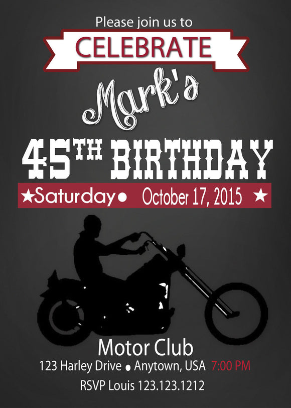Motorcycle Birthday Invitation - Birthday Invitation - Invitetique